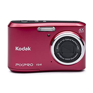 Kodak PIXPRO Friendly Zoom FZ41 16 MP Digital Camera with 4X Optical Zoom and 2.7  LCD Screen (Red)