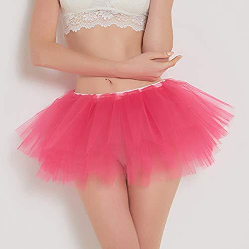 Pervobs Womens Cute Summer Solid Pleated Gauze Elastic Waist Short Skirt Loose Adult Tutu Dancing Skirt(Free, Hot Pink) by Pervobs Dress (Image #2)