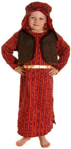 Disfraz Niño Marrón & Rojo Pastor Belén Disfraz - Pequeño Edad 4-6