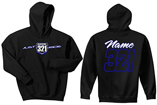 JUST RIDE Motocross Number Plate Custom Personalized Hoodie Sweat Shirt Yamaha (Large, Blue/White-White #'S) ()