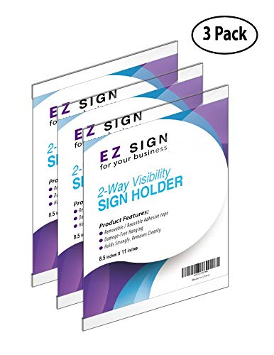 (EZ Wall Mount Sign Holder 8.5 x 11, Double Sided,Reusable & Washable Tape; Plastic & Clear, Horizontal & Vertical Paper, Document, Menu,Office Poster Holders, Ad & Flyer Display)
