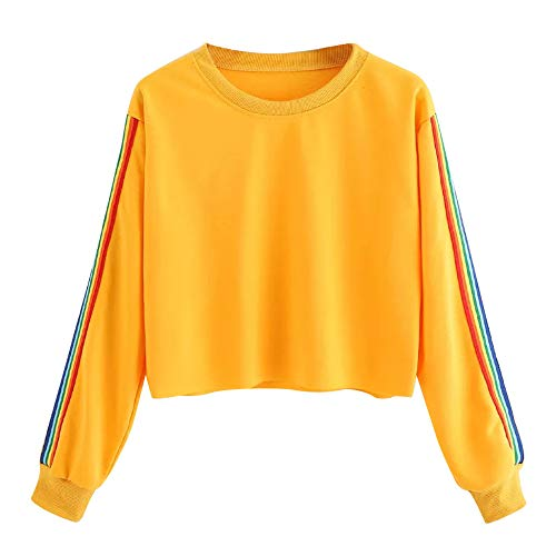 Ameily Womens Long Sleeve Blouse Rainbow Patchwork O Neck Sweatshirt Casual Pullover Tops ()