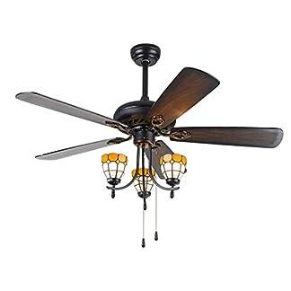 BEAR&MH Ventilatore da soffitto in Stile Tiffany 68 Pollici con Ventilatore a 5 Pale in Legno, LED ventilatori elettrici ventilatori Muti, per Soggiorno, Sala da Pranzo, Decorazione della casa