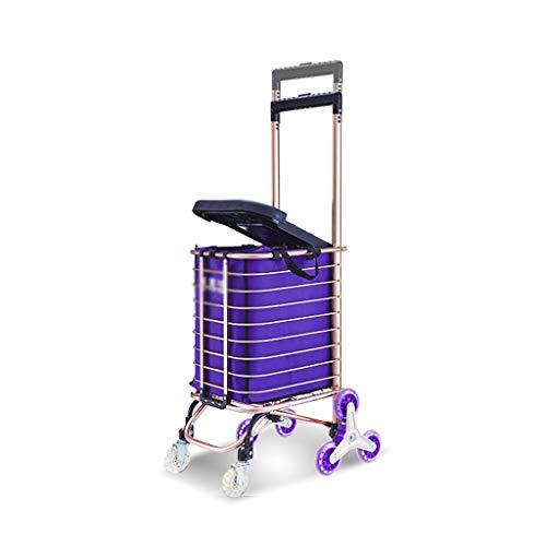 Carro de la Compra portátil del hogar Carro de la aleación de Aluminio Coche de Carretilla Plegable del Alpinismo (Color :...