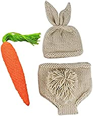 Puseky 3pcs Newborn Baby Boy Girls Rabbit Ear Cap Shorts Carrot Toy Photo Photography Prop Outfits Set