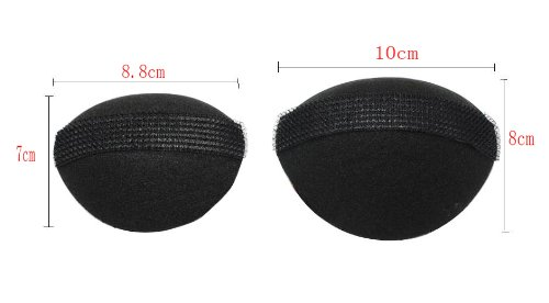 niceeshop(TM) 1 Bag(2pcs) DIY Hair Styling Tool Oval Sponge Soft Lady Hair Base Styling Insert Tool Hair Pad-Black