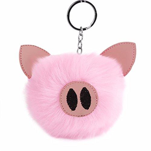 Pig Pom Pom Keychain for Women, Iuhan 10CM Key Ring Holder Pompoms Key Chains Silver Ring Fluffy Fur Ball for Womens Bag Purse Charm Bag Cellphone Car Pendant (Pink) (Phone Charm Under $1)