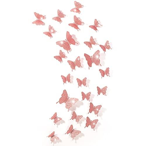 Espejos mariposas 3D 48 unidades rosa con glitter