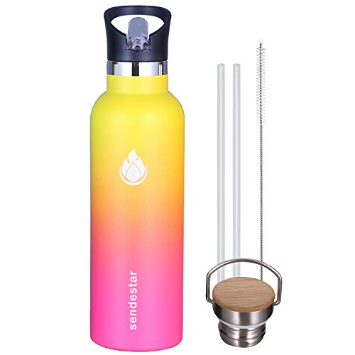 Sendestar 26 oz Double Wall Vacuum Insulated Leak Proof Stainless Steel Sports Water Bottle -Standard Mouth with Straw Lid & Bamboo Lid (Yellow/Pink)