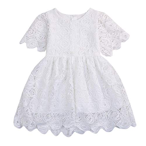 YOUNGER TREE Flower Girl Dress Little Girl Short Sleeve Princess Dress Outfit (18-24 Months, White) (White Flower Girl Dress Size 18 Months)