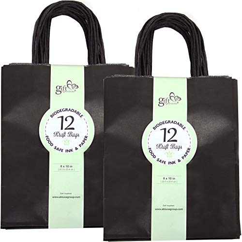 GIFT EXPRESSIONS Medium Black Kraft Paper Bags, Kraft Gift Bag, Premium Quality Paper (Sturdy & Thicker), Biodegradable, Party Bags, Shopping Bag, Kraft Bags(24 CT Medium, Black)