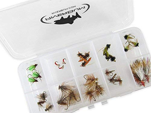 - RiverBum Caddis Trout Assortment Kit with Fly Box, Nymphs, Dry Flies, Emergers, Parachutes for Trout Fly Fishing - 30 Piece