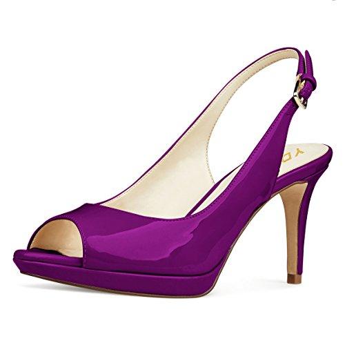 YDN Women Formal Peep Toe Platform Pumps Mid Heels Slingback Office Shoes with Buckle Purple (Purple Open Toe Platform)