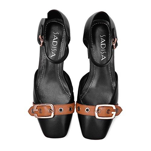 Europa y los estados unidos con los zapatos de cuero/Con la cabeza cuadrada con un solo zapato/Punta sandalias enlace B