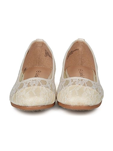 Alrisco Lace Mesh Capped Toe Ballet Flat HF24 - Ivy Mix Media (Size: Big Kid 4) by Alrisco (Image #3)