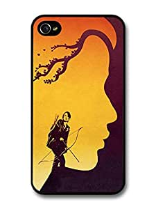 The Hunger Games Jennifer Lawrence Archery Girl with Branches Birds Illustration case for iPhone 4 4S A8146