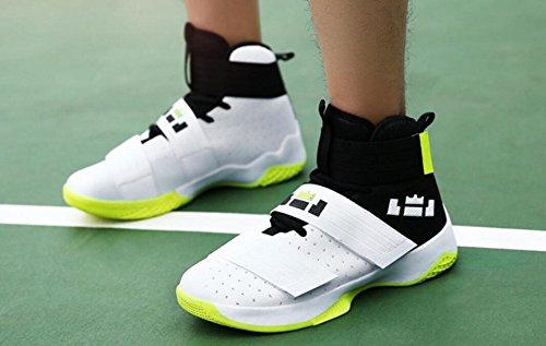 Jiye Mens Scarpe Da Basket Per Donna Sportive Sportive Velcro Sneakers Di Bianco Verde