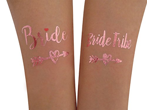(24 PCS) Yazhiji Bride and Bride Tribe Rose Gold Temporary Tattoos For A Bachelorette -