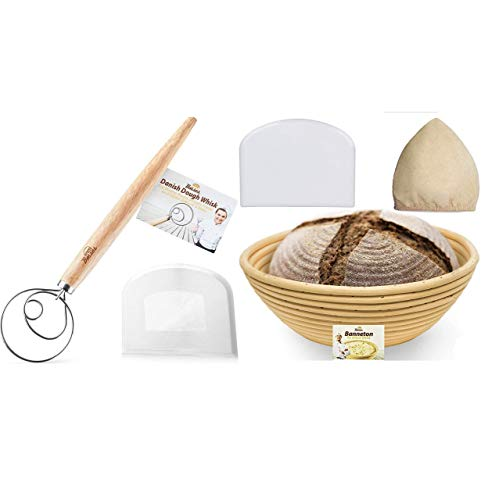Danish Dough Whisk Bread Mixer and Bread Bosses 9 Inch Banneton Proofing Basket - Great as a Gift
