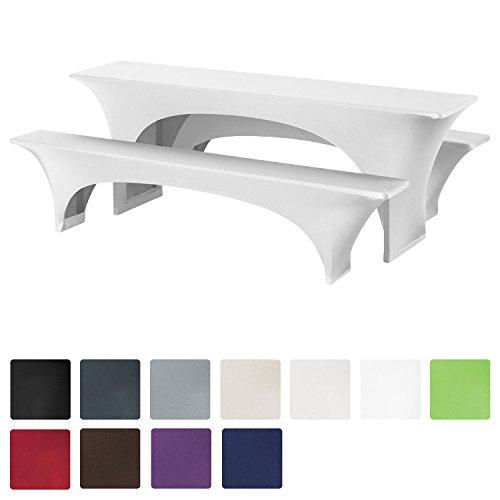 Beautissu® Stretchhusse Bierzeltgarnitur-Set 3tlg - Weiß elastische Biertischhusse 220x50 cm + 2 Bierbankhussen