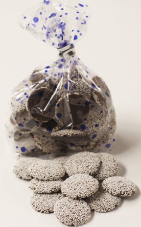 Scott's Cakes Semi-Sweet Chocolate Wafers with White Colored Non-Pareils in a 1 Pound Blue Polka Dots Bag