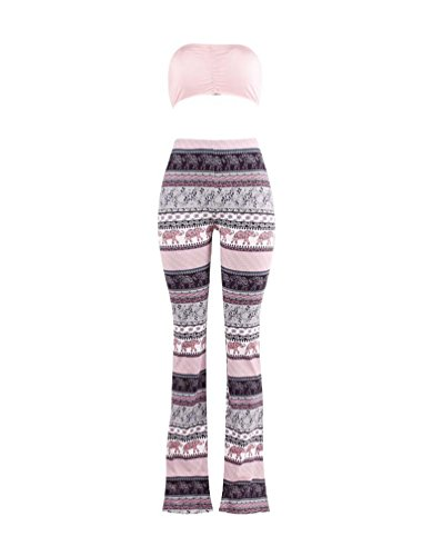 ZhiyuanAN Mujer Impresión Pantalones Ancho Pierna Palazzo Y Tank Tops De Dos Piezas Playsuit Tie Dye Elásticos Acampanados Deporte Pantalones Top Estilo 12