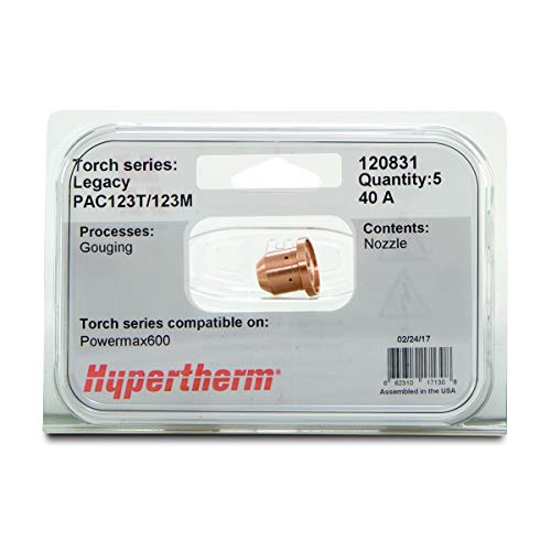 - Hypertherm Model 120831 Gouging Nozzle For Powermax600/PAC 123M/123T Plasma Torch, Package Size: 5 Each