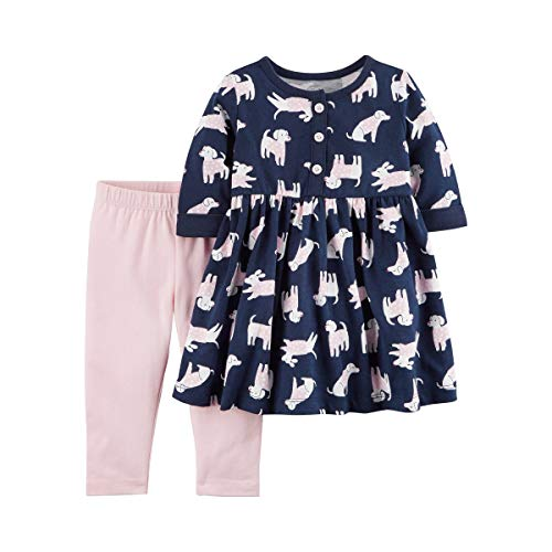 Carter's Baby Girls 2-Piece Long Sleeve Dress with Legging Set (Newborn, Pink/Navy, Dog)