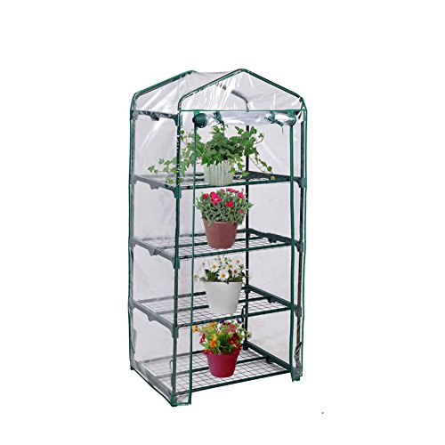 "Blissun 4 Tier Mini Greenhouse, 27"" L x 19"" W x 62"" H (green)"