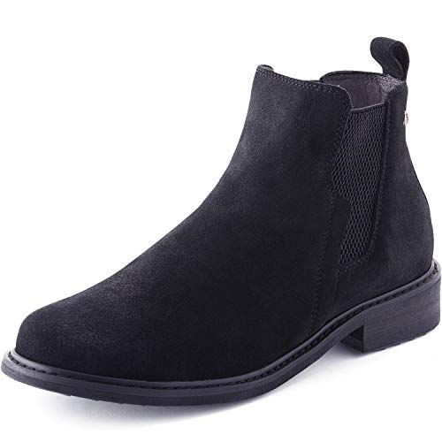 (Parfeying Ankle Boots, Waterproof Booties, Non-Slip Rubber Sole, Casual Shoes, Pig Leather Lining (L10138, Black, US 8))