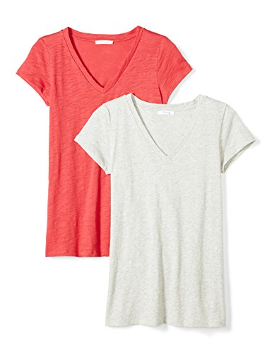 (Daily Ritual Women's Lived-in Cotton Slub Short-Sleeve V-Neck T-Shirt, 2-Pack, Cardinal red/Light Heather Grey, Small)