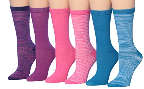 Tipi Toe Women's 6-Pairs Colorful Bright Space Dye Marled Dress Crew Socks, (sock size 9-11) Fits shoe size 5-9, WC27-A (Acrylic Funky Mix Socks)