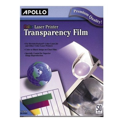 - Apollo : Color Laser Printer/Copier Transparency Film, Letter, Clear, 50 per Box -:- Sold as 2 Packs of - 50 - / - Total of 100 Each