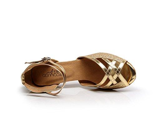 JSHOE Chaussures De Danse Pour Femmes Latin Salsa/Tango/Thé/Samba/Moderne/Jazz Chaussures Sandales Talons Hauts,Gold-heeled6cm-UK5.5/EU38/Our39