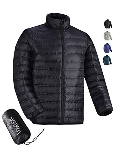 Lesmart Men's Feather Down Fill Jacket Weatherpoof Winter Golf Puffa Coat SliL Fit Size XL Black Down Fill Jacket