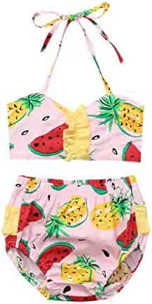 bcd6ce75e05d9 KONFA Two Pieces Swimsuit Toddler Newborn Baby Girls Bikini Set Swimwear  Fruits Print Halter Tops+