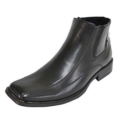 Happy Bull Fashion Hombres Negro Slip-on Oxford Botines Con Cremallera Hebilla 01-negro