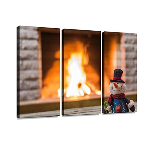 Toy Snowman Against The Background of Fireplace. Print On Canvas Wall Artwork Modern Photography Home Decor Unique Pattern Stretched and Framed 3 Piece