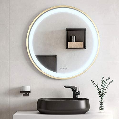 LUVODI 浴室 鏡 曇り止め LED 照明付き 洗面鏡 ミラー 壁掛け お風呂 洗面所 洗面台 化粧鏡 調光可能 メモリー機能 おしゃれ 50×50cm