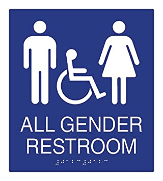 Amazoncom ADA Compliant All Gender Wall Sign With Wheelchair - Gender neutral bathroom signs california
