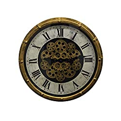 IMPORTED GIFT DEPOT Vintage Steampunk Style Gold and Black Skeleton Wall Clock with Moving Gears