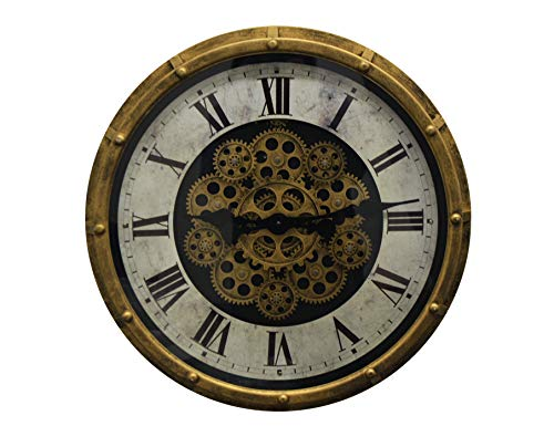 - IMPORTED GIFT DEPOT Vintage Steampunk Style Gold & Black Metal Wall Clock Moving Gears & Marble Texture Clock Face w/Roman Numerals, Battery Operated Wall Decor for Home Or Office