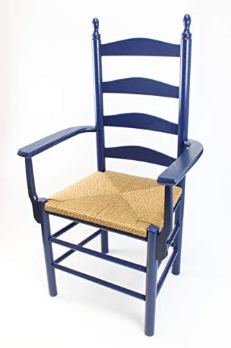 Dixie Seating Calabash Wood Ladderback Arm Chair No. 4AW Blue ()