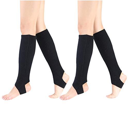 Women Stirrup Leg Warmers Boot Cuffs Socks Knee High Length Crochet for Dance Yoga (one size, 2 Pairs Black)