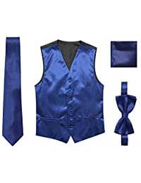 JAIFEI Satin Men Wedding Vest – Set with Neck Tie, Bow Tie & Handkerchief