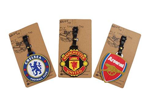 Soccer Bag Tag - Set of 3 - Super Cute Kawaii Cartoon Silicone Travel Luggage ID Tag for Bags (Football Soccer)