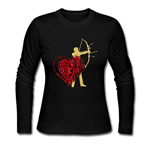 Coeur Heart - Women Archery Heart Coeur Rose Long Sleeve Athletic Cotton Crew Neck T-Shirt