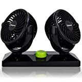 Stargoods Car Fan with Dual Head & 360 Degree Rotation - 12V Air