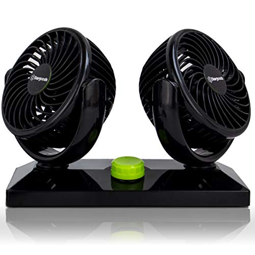 Car Fan with Dual Head 360 Degree Rotation, Variable Speed 12V Auto Air Cooling