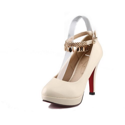US Pumps Toe with Beige Platform PU Closed M 5 B WeiPoot Womens Solid Patent Metal High Leather Heel Round 9 xH6P7B